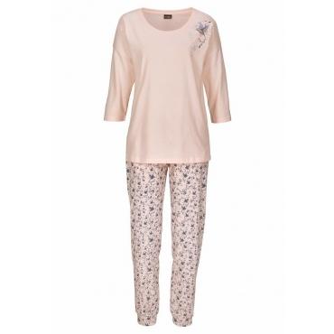 Große Größen: Vivance Dreams Pyjama mit Vogelmotiven, rosé, Gr.44/46-56/58