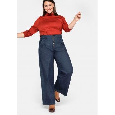 Weite High-Waist-Jeans mit Bundfalten, blue Denim, Gr.44-58