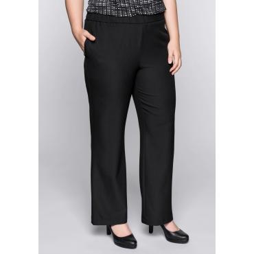 Große Größen: Weite Hose in Schlupfform mit Gummizugbund, schwarz, Gr.44-58