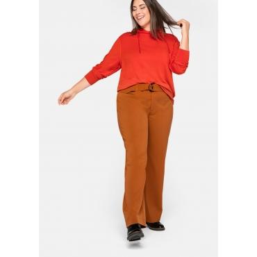 Weite Hose mit breitem Gürtel, elastische Qualität, cognac, Gr.44-58