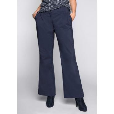 Große Größen: Weite Hose mit Bundfalten, marine, Gr.44-58