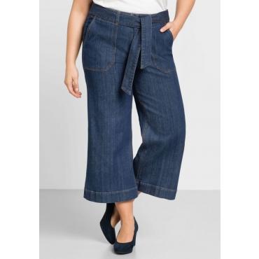 Große Größen: Weite Jeans-Culotte in 7/8-Länge, blue Denim, Gr.44-58
