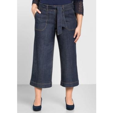 Große Größen: Weite Jeans-Culotte in 7/8-Länge, dark blue Denim, Gr.44-58