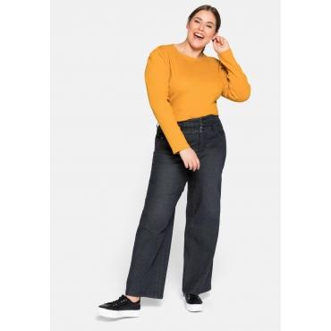 Weite Jeans mit High-waist-Bund, stretch, black Denim, Gr.44-58