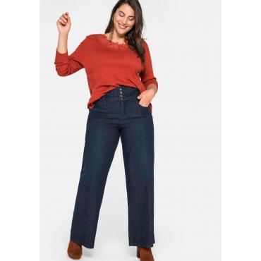 Weite Jeans mit High-waist-Bund, stretch, dark blue Denim, Gr.44-58