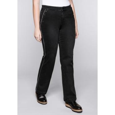 Große Größen: Weite Power-Stretch-Jeans mit Zierknöpfen, black Denim, Gr.44-58