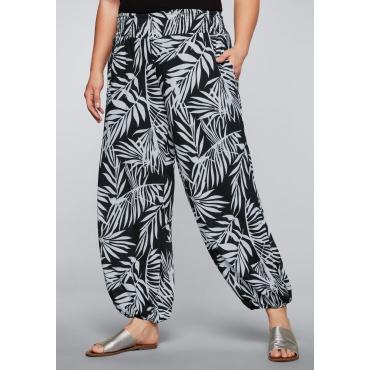 Weite Strandhose mit Smokbund, schwarz-weiß, Gr.44-58