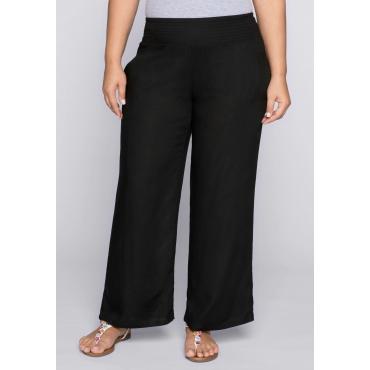 Große Größen: Weite Strandhose mit Smokbund und Taschen, schwarz, Gr.44-58