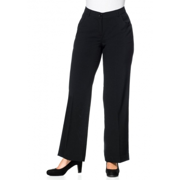 Große Größen: Weite Stretch-Hose mit Bügelfalte, schwarz, Gr.21-116