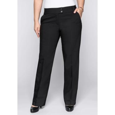 Große Größen: Weite Stretch-Hose mit Bügelfalte, schwarz, Gr.44-58
