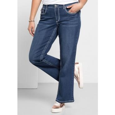 Große Größen: Weite Stretch-Jeans mit Kontrastnähten, dark blue Denim, Gr.21-104