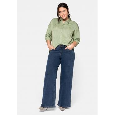 Weite Stretch-Jeans mit Kontrastnähten, dark blue Denim, Gr.44-58