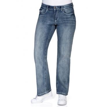 Große Größen: Weite Stretch-Jeans mit Kontrastnähten, light blue Denim, Gr.21-104