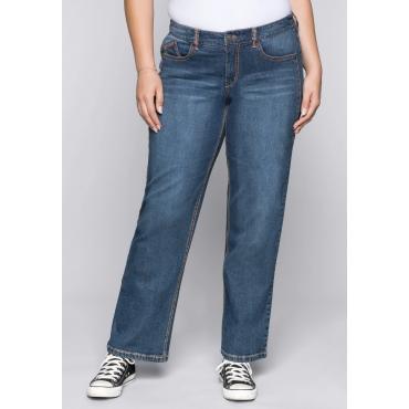 Große Größen: Weite Stretch-Jeans mit Teilungsnähten, dark blue Denim, Gr.44-58