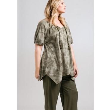 Shirt in Batik-Optik und Zipfelform, khaki, Gr.44/46-56/58