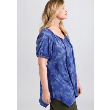 Große Größen: Shirt in Batik-Optik und Zipfelform, royalblau, Gr.44/46-56/58