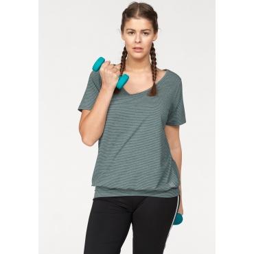 T-Shirt, schwarz-petrol, Gr.44/46-56/58