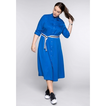 Hemdblusenkleid in A-Linie, royalblau, Gr.44-58