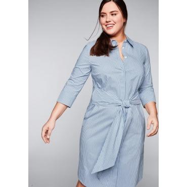 Hemdblusenkleid mit Bindeband und Blusenkragen, hellblau-weiß, Gr.44-58