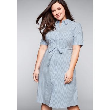 Hemdblusenkleid mit Knopfleiste und Bindegürtel, hellblau-weiß, Gr.44-58