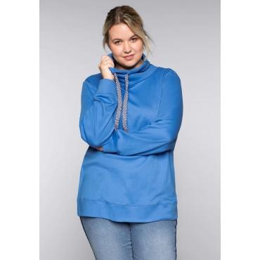 Interlocksweatshirt mit großem Kragen und Bündchen, azurblau, Gr.44/46-56/58