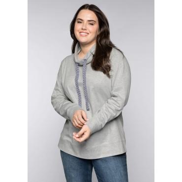 Interlocksweatshirt mit großem Kragen und Bündchen, grau meliert, Gr.44/46-56/58