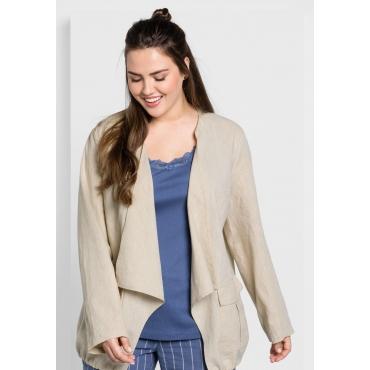 Jacke aus Leinen-Mix in offener Zipfelform, beigefarben, Gr.44-58
