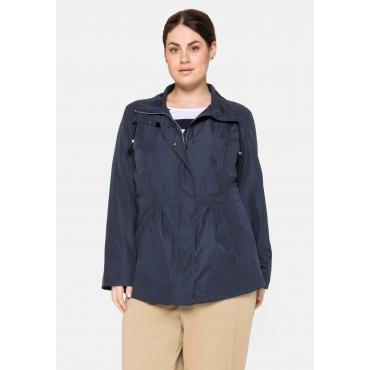 Jacke mit Biesen und Stehkragen, wasserabweisend, nachtblau, Gr.40-58