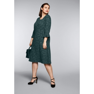 Jacquard-Kleid allover gemustert, tiefgrün gemustert, Gr.44-58