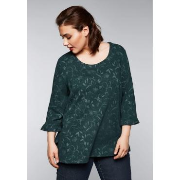 Jacquard-Shirt in floralem Design, tiefgrün gemustert, Gr.44/46-56/58