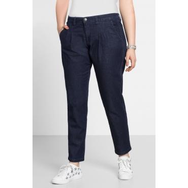 Jeans im Chino-Schnitt mit Bundfalten vorn, dark blue Denim, Gr.22-104