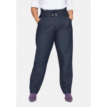 Jeans im Chino-Schnitt, mit Paperbag-Bund, blue black Denim, Gr.40-58