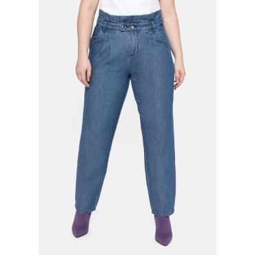 Jeans im Chino-Schnitt, mit Paperbag-Bund, blue used Denim, Gr.40-58