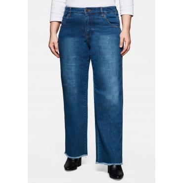 Jeans mit extra-weitem Bein und Fransensaum, blue Denim, Gr.40-58