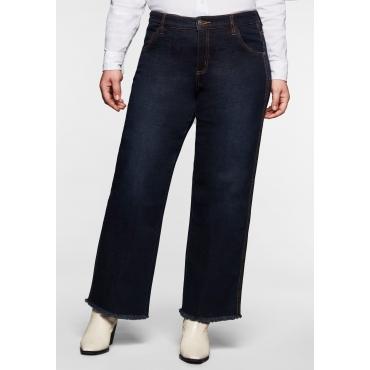 Jeans mit extra-weitem Bein und Fransensaum, dark blue Denim, Gr.40-58
