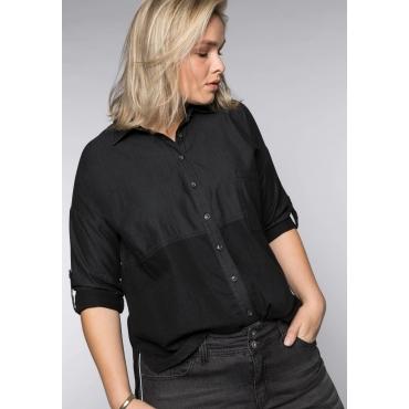 Jeansbluse im Colorblocking mit Krempelärmeln, black Denim, Gr.44-58