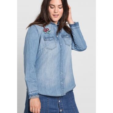 Jeansbluse mit Stickerei und Brustpattentaschen, light blue Denim, Gr.40-52