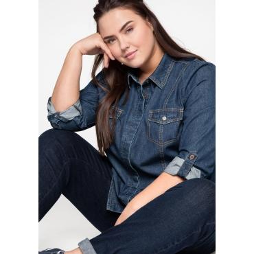 Jeansbluse mit Taschen und Teilungsnähten vorn, dark blue Denim, Gr.44-58
