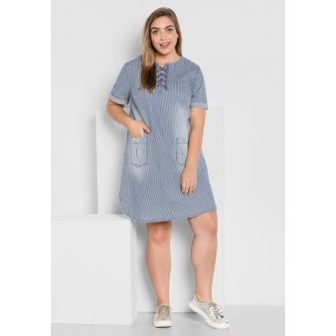 Jeanskleid mit Schnürung und Streifen, blue Denim, Gr.44-58