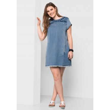 Jeanskleid mit Stickerei, light blue Denim, Gr.40-58