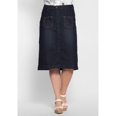 Jeansrock mit Taschen, dark blue Denim, Gr.40-58