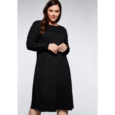 Jerseykleid aus Modalmischung mit Nieten, schwarz, Gr.44-58
