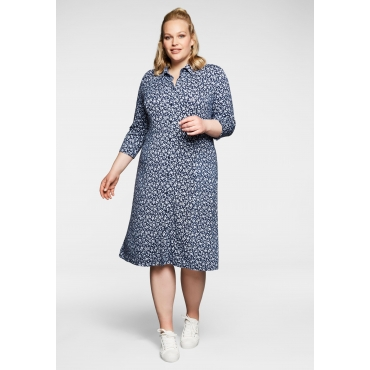 Jerseykleid in A-Linie, im Hemdblusenstil, marine bedruckt, Gr.40-58