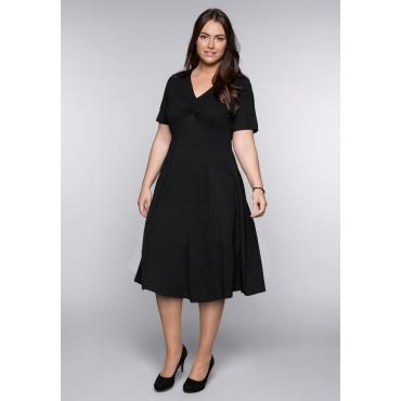 Jerseykleid in A-Linie mit V-Ausschnitt, schwarz, Gr.44-58