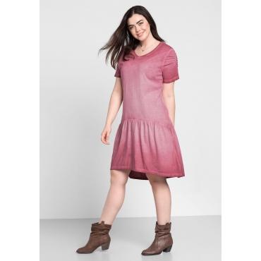 Jerseykleid in Oil-washed-Optik, bordeaux, Gr.44-58