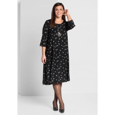 Jerseykleid mit 3/4-Ärmeln, schwarz bedruckt, Gr.44-58