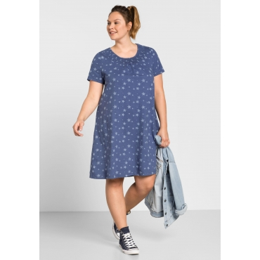 Jerseykleid mit Alloverdruck, rauchblau, Gr.44-58