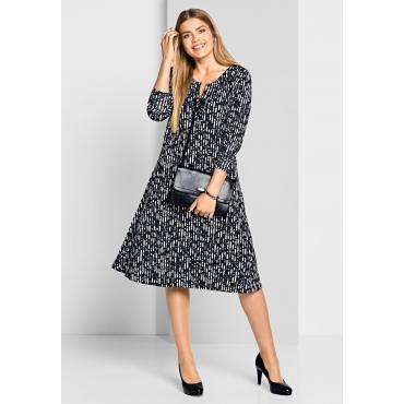 Jerseykleid mit Alloverdruck, schwarz-weiß, Gr.40-58