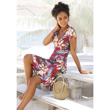 Jerseykleid mit Alloverdruck und V-Ausschnitt, rot-blau-gelb, Gr.40/42-56/58