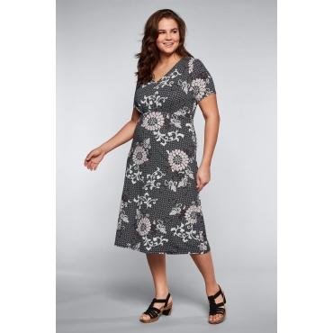 Jerseykleid mit Alloverdruck und V-Ausschnitt, schwarz bedruckt, Gr.44-58